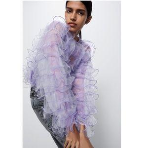 Zara Purple Limited Edition Ruffle Shirt Blouse